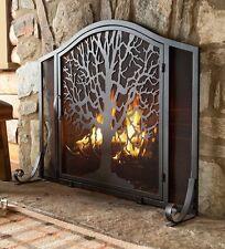 "Metal Fireplace Screen w Door Black Tree of Life Hearth Firescreen 44''x11½""x33"""