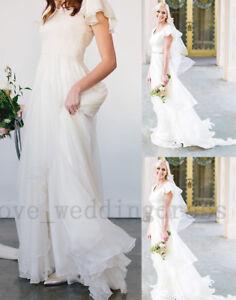 Flowy Chiffon Modest Wedding Dresses Beach Short Sleeves Beach Boho ...