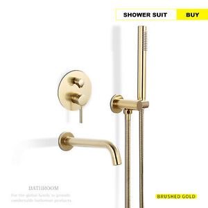 Brushed-Gold-Wall-Mount-Bathroom-TubShower-Faucet-Brass-Hot-and-Cold-Mixer-Tap