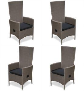 kmh 4 polyrattan hochlehner braun gartenstuhl gartensessel sessel stuhl set ebay. Black Bedroom Furniture Sets. Home Design Ideas