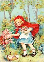 Little Red Riding Hood Fabric Block Storybook Image Picking Flowers