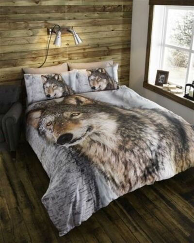 WOLF ANIMAL PHOTO DUVET COVER SET PANEL PRINT WILD SNOW DOG BROWN LATTE BEIGE