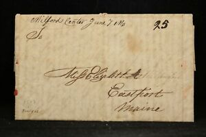 Massachusetts: Milford Centre 1823 Stampless Cover, Ms, RARE DPO Worcester Co