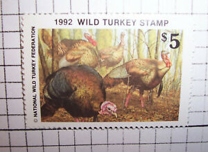 1992 Brian Jarvi Nwtf-national 17 Wild Turkey Federation Conservation Stamp Comme Neuf