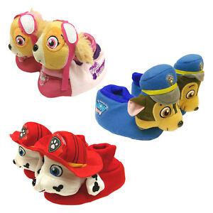 Children-039-s-Paw-Patrol-Plush-Slippers-3D-Non-Slip-Kids-Size-Chase-Marshall-Skye