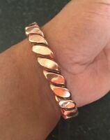 Unisex Pure Copper Twisted Wires Bracelet Cuff Adjustable Size Hindu Kada Kara