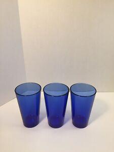 Set-Of-3-Vintage-Libbey-Metropolitan-Cobalt-Blue-Glass-Tumblers-16oz-Glasses