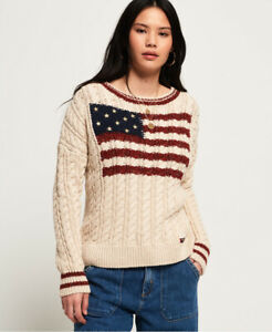 Details about Superdry Womens American Intarsia Knit Jumper