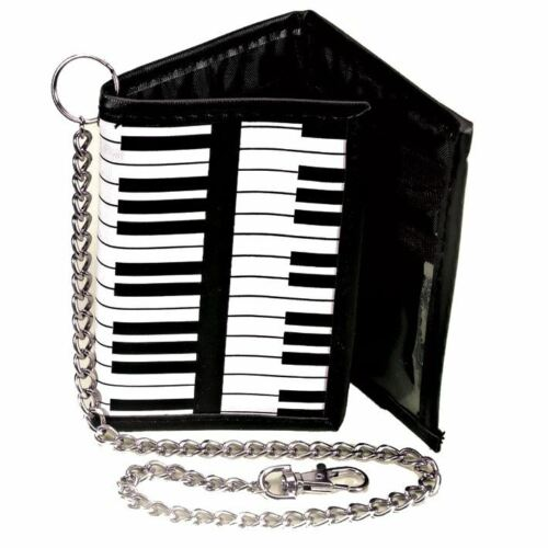 Piano Keys Keyboard Tri-Fold Wallet with Chain Retro Music Gifts