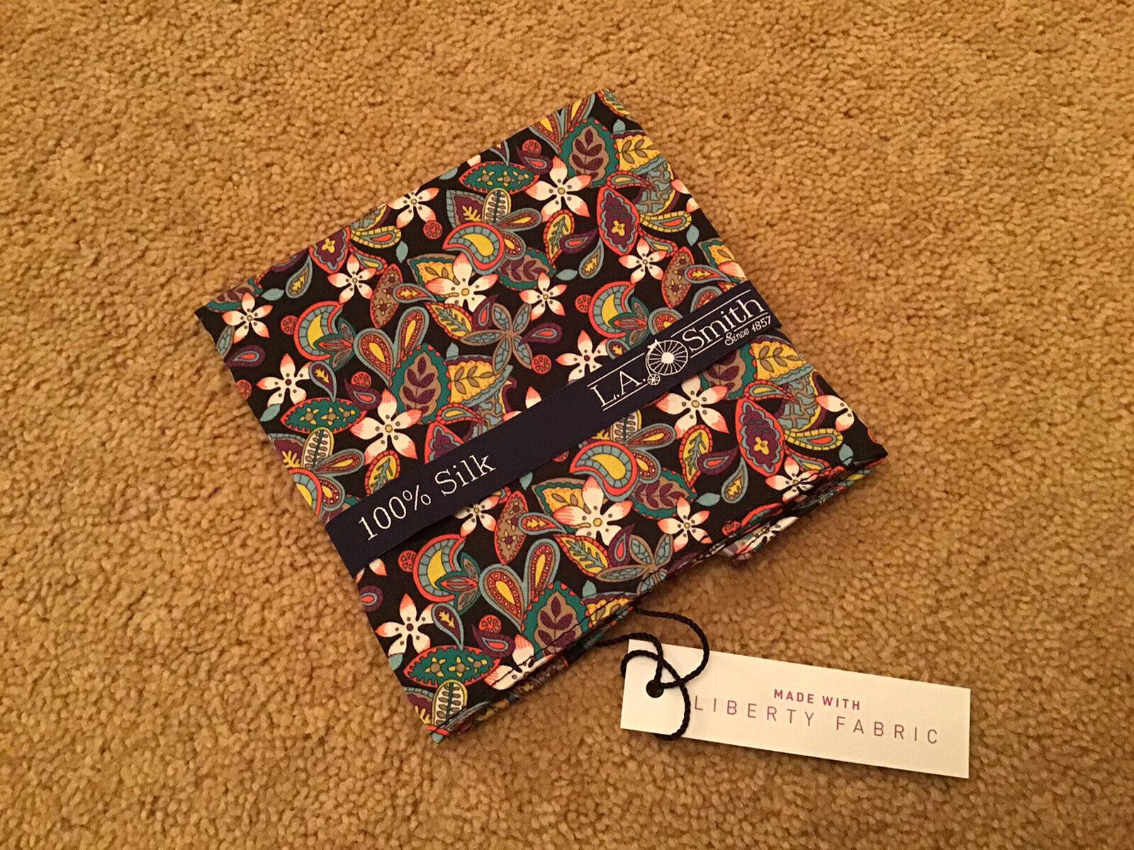 100% Pure Silk Floral Liberty Fabric Pocket Square.