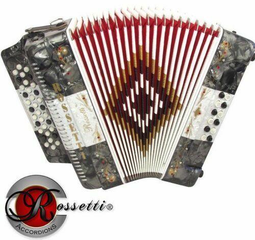 Rossetti Accordion 34 Button 3 Switch FBE FA 12 Bass grau Weiß grau w  Case