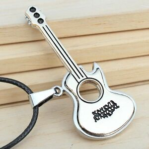 Fashion-Stainless-Steel-Guitar-Pendant-Necklace-Rope-Chain-Rock-Music-Necklaces