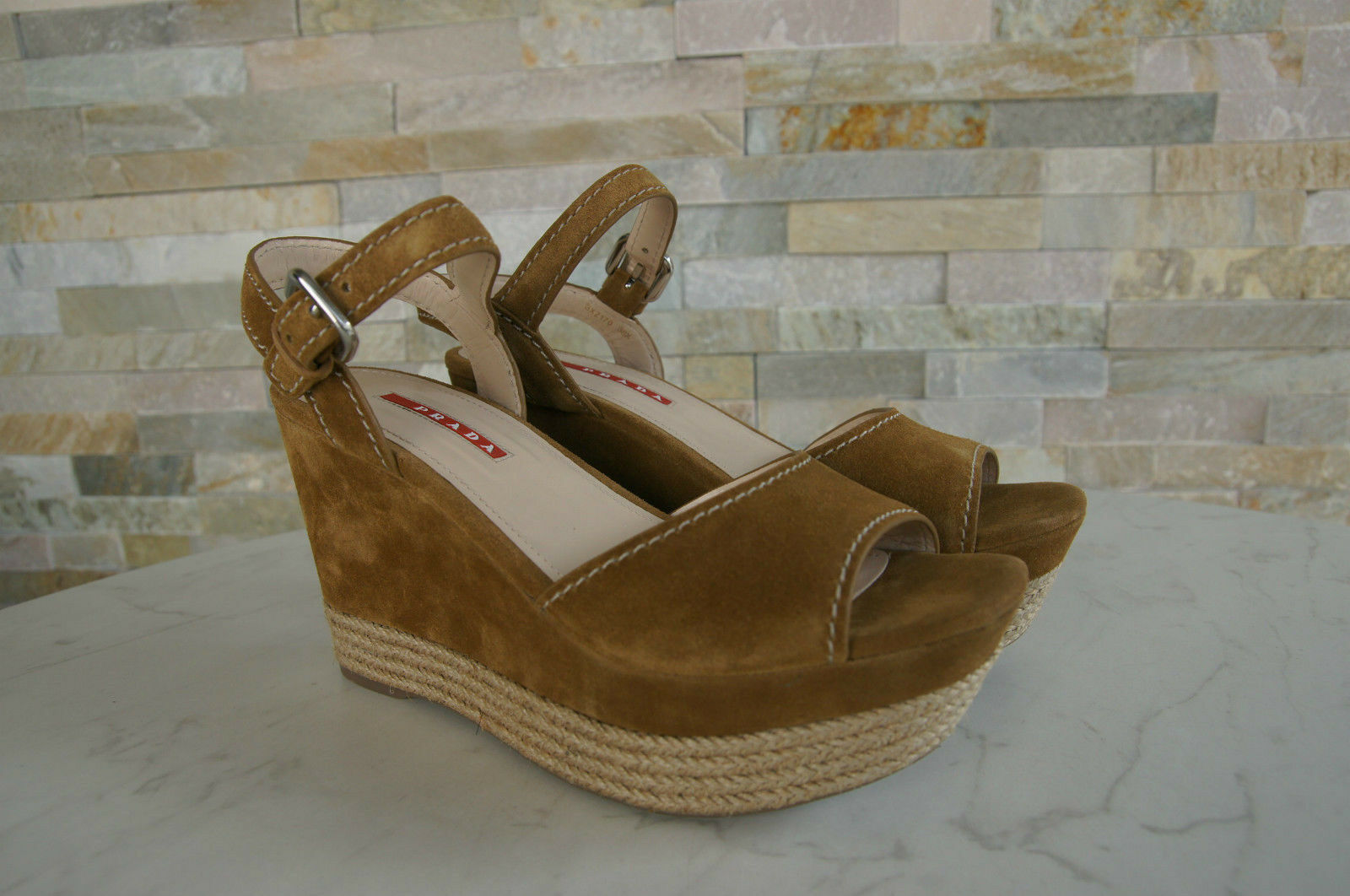 Plateforme S Chaussures 40 Sisal Prada T Shoes 5 Caramel Neuf qFxOpAP