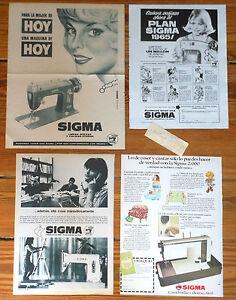 SIGMA 4x Original 1960s Print AD ADS Maquina de Coser Publicidad Advert