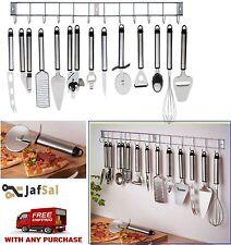 12 PZ utensile da cucina in acciaio inox & titolare per appendere con gadget set UK