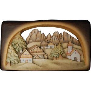 Berglandschaft Tiroler-bild Holz Wood Holzschnitzerei Relief