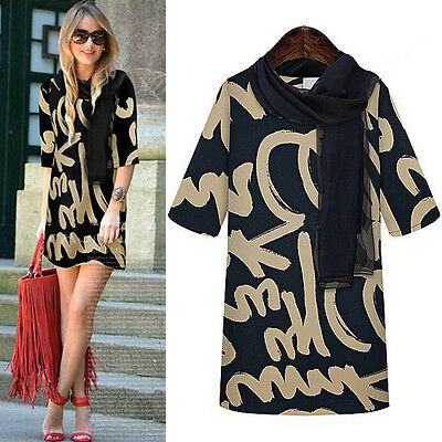 Fashion Womens 3/4 Sleeve Letter Print Casual Mini Dress Blouse T Shirt Tops