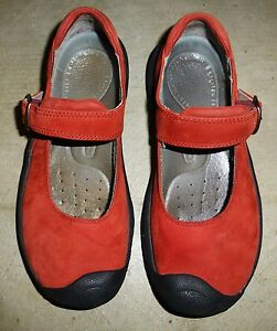 keen womens 5 1/2 red suede leather hiking trail mary jane