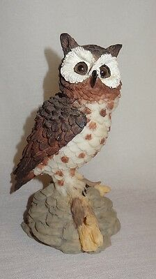 "Vintage Owl Sitting on Branch Rocks Figurine Resin Brown White Gray China 4"""