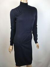 Nina Ricci Navy Sheath Dress XS New $1200 Wool Mock Turtle Neck Long Sleeve