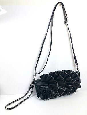 Hananel Black Faux Leather Purse With