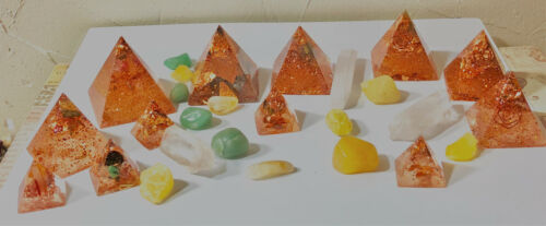 ORGONE PYRAMIDS-HAND MADE TO ORDER-CRYSTALS & COPPER 2.5 X2 1/4in NUBIAN STYLE