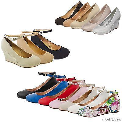 New Women Fashion Shoes Ankle Strap Buckle Sandal Platform Wedge High Heel Pumps