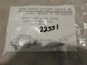 65-66-67-C2-Window-Wipe-Fuzzys-Outer-Rivet-Set-Coupe-and-Roadster-NEW