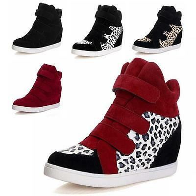 Hot Ankle Women's High Top Strap Wedge Hidden Heel Sneaker Boots Shoes Casual