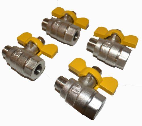 "Ball Valve set of 4 units 38"" bsp MF threads chrome plated brass butterfly"