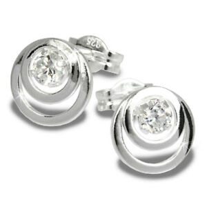 SilberDream-Ohrring-Kreise-Zirkonia-weiss-925-Silber-Ohrstecker-SDO542W