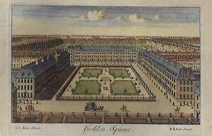 GOLDEN-SQUARE-SOHO-Antique-Hand-Colored-Engraving-1740-Universal-Magazine
