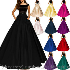 Women-Off-Shoulder-Long-Prom-Gowns-Formal-Satin-Evening-Party-Bridesmaid-Dresses