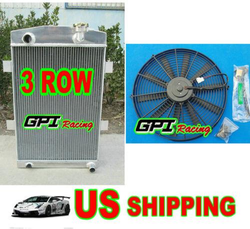 56 mm 27/'/' up to 700HP custom aluminum radiator chevy 350 V8 MT 1935 1936 /&fan