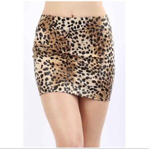 8056a0f04 Details about Very Sexy Leopard Print Slim Micro Mini Club Faux Leather  Skirt Black Tan S M L