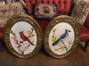 Antique Oval Gesso Frames 25x19 Bird Paintings Cardinal Blue Jay