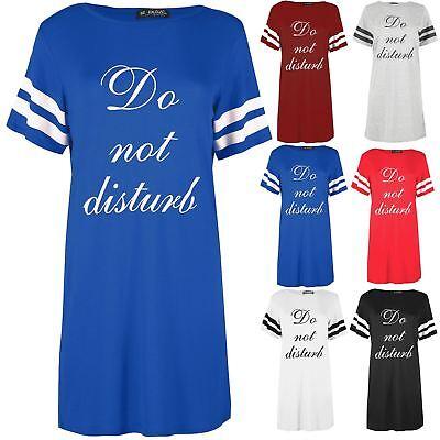 Womens Ladies Do Not Disturb Short Stripe Sleeves Night Sleepwear Pajama Shirt