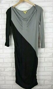 Cue Knit Dress Shift Style Grey, Black 3/4 Sleeves Sz M, 10
