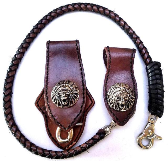 Biker Indian Chief Trucker Leather chain wallet hand Stitch Keychain Key Holder