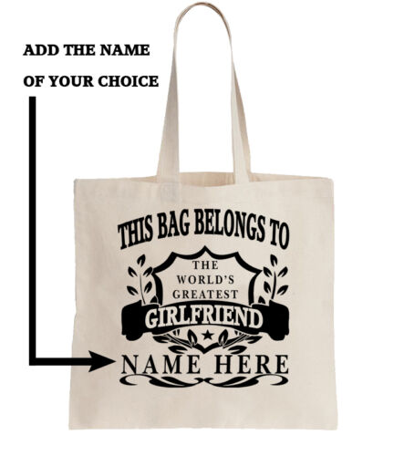 Personalised Tote Shopper Add Name Shopping Gift World/'s Best Girlfriend Present