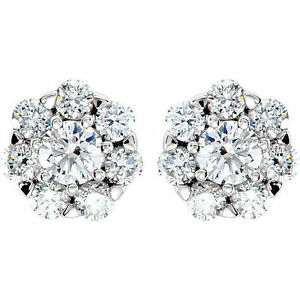 2-06-ct-14k-Gold-Cluster-Stud-Earrings-Round-cut-DIAMONDS-G-H-color-SI1-clarity