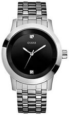 NEW AUTHENTIC GUESS SILVER TONE Stainless Steel BLACK DIAL  Watch U11576G1 NWT