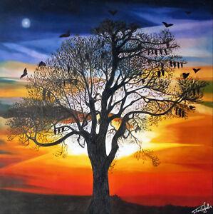 framed original fruit bat sunset queensland art Print  canvas  aboriginal COA
