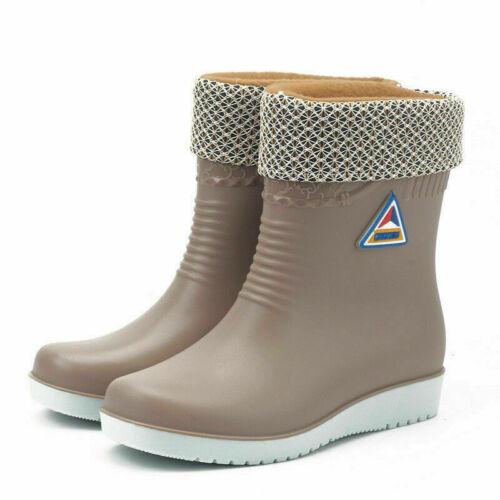 Ladies Winter Warm Rain Flat Chelsea Ankle Wellies Womens Wellington Boots Shoes