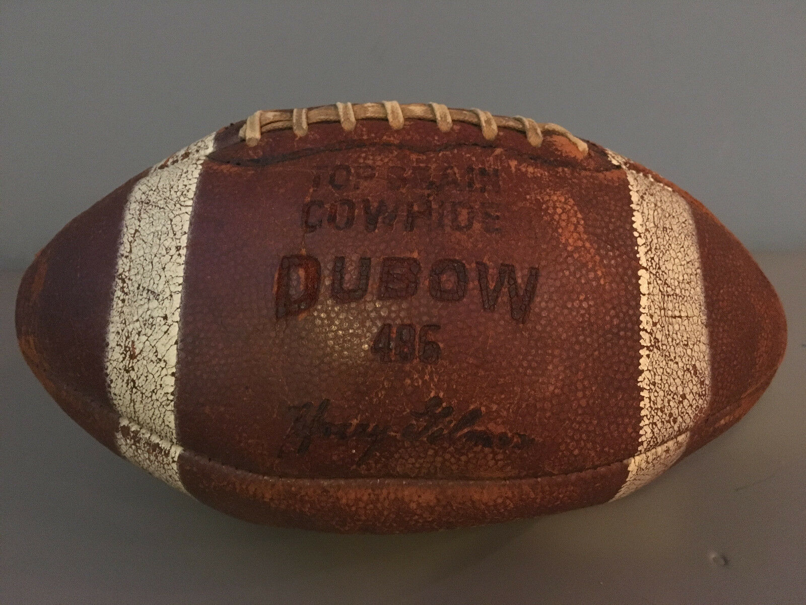 VINTAGE Harry Gimer DUBOW Top Grain Cowhide Football with Laces Made USA