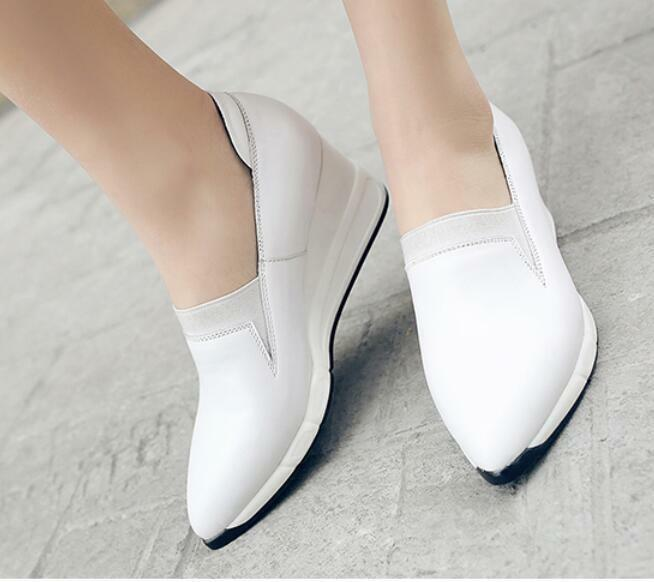 Fashion Korean Womens Pointy Toe leather Slip On Wedge Heels Sneakers shoes