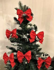 Christmas Tree Bows Red.Details About Red Christmas Tree Bows With Ties Gifts Packaging 1 3 Or 6 Bows Per Pack