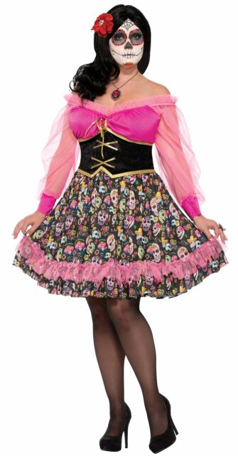 Womens Lady Mexicos Day Of The Dead Skeleton Festival Costume Plus