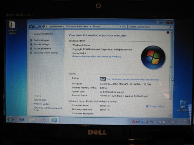 "Dell Inspiron Mini 1012 10.1"" netbook Intel atom processor, 1GB ram, Windows 7"