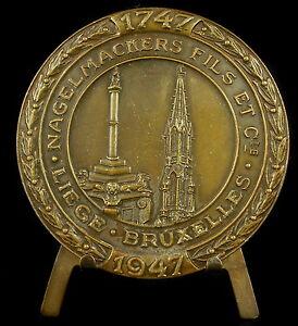 Medaglia-Bruxelles-Sughero-Nagelmackers-Fili-1947-Stemma-e-Simbolo-Belgio-Medal